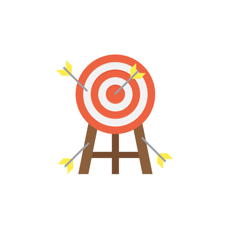 printed material: Target with arrow on background vector concept. Goal illustration in modern flat style. Color picture for design web site, web banner, printed material. Focus flat icon. Illustration