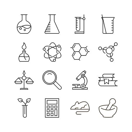 Laboratory icon set. Collection of science thin line icons. 16 high quality outline logo of lab on white background. Pack of symbols for design website, mobile app, printed material, etc. Çizim