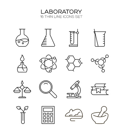 virus bacteria: Laboratory icon set. Collection of science thin line icons. 16 high quality outline logo of lab on white background.