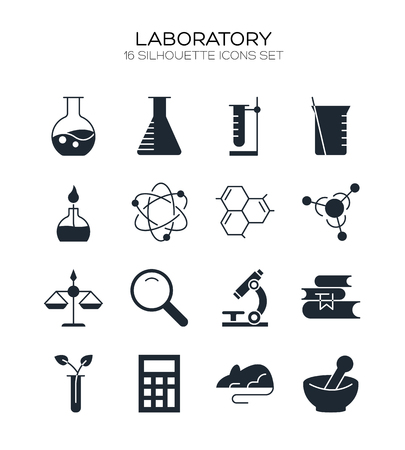 Laboratory icon set. Collection of science silhouette icons. 16 high quality logo of lab on white background. Pack of symbols for design website, mobile app, printed material, etc. Иллюстрация