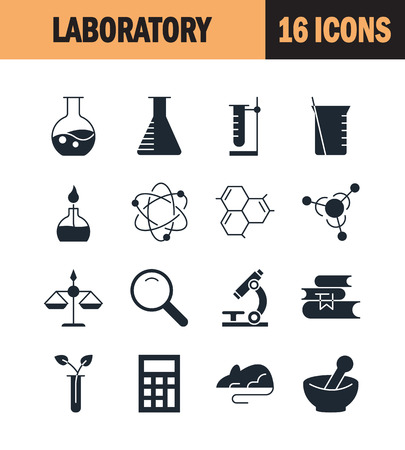 virus bacteria: Laboratory icon set. Collection of science silhouette icons. 16 high quality logo of lab on white background. Pack of symbols for design website, mobile app, printed material, etc. Illustration
