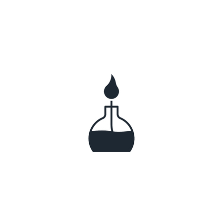 distillation: Laboratory fire silhouette  icon. High quality black outline Logo for web site design and mobile apps. Vector illustration on a white background. Illustration