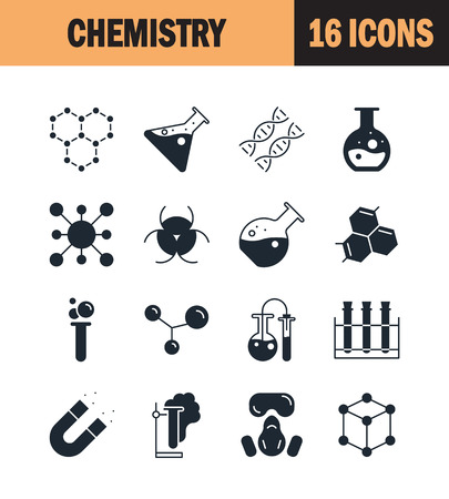 Chemistry Icon Set Collection Of Science Silhouette Icons 16