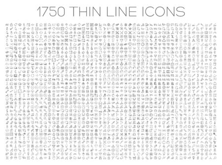 mobile app: Exclusive icon set. 1750 thin line signs of food, medical, business, travel. Collection of high quality symbols for web design, mobile app, infographic. Pack of minimalistic logo on white background.