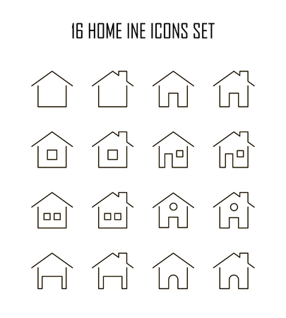 Home icon set. Collection of house line icons. 16 high quality logo of home button on white background. Pack of symbols for design website, mobile app, printed material, etc. Illustration