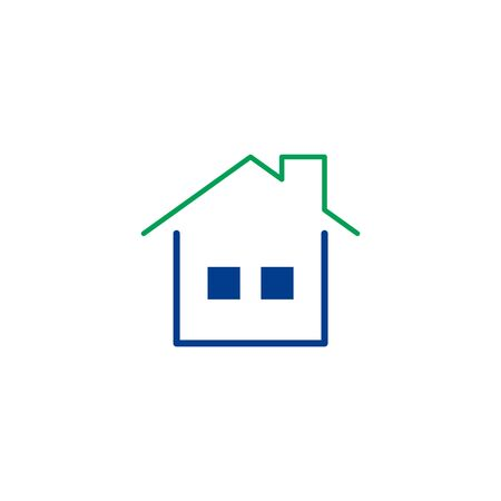 house logo: Home flat icon. Single high quality symbol of line house vector for web design or mobile app. Color signs of contact for design logo. Single pictogram of home button on white background