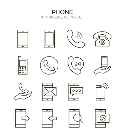lcd display: Phone icon set. Collection of telephone line icons. 16 high quality logo of communication on white background. Pack of symbols for design website, mobile app, printed material, etc.