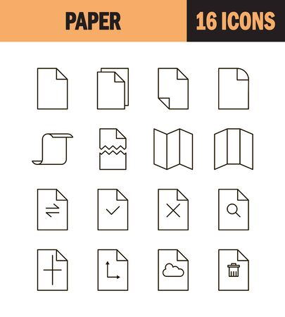 Paper icon set. Collection of document line icons. 16 high quality logo of printing on white background. Pack of symbols for design website, mobile app, printed material, etc. Иллюстрация