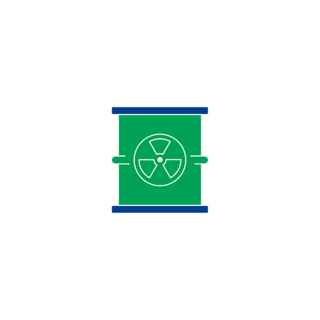uranium: Radiation flat icon. Single high quality symbol of line radioactive vector for web design or mobile app. Color sign of energy for design logo. Single pictogram on white background Illustration