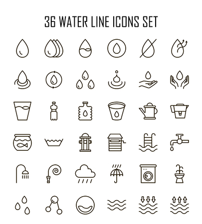 Water icon set. Collection of high quality outline drop pictograms in modern flat style. Black water symbol for web design and mobile app on white background. Illustration