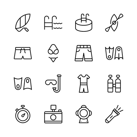 Swimming icon set, Collection of high quality outline summer pictograms in modern style. Ilustracja