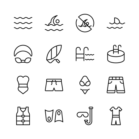 Swimming icon set, Collection of high quality outline summer pictograms in modern flat style. Ilustracja