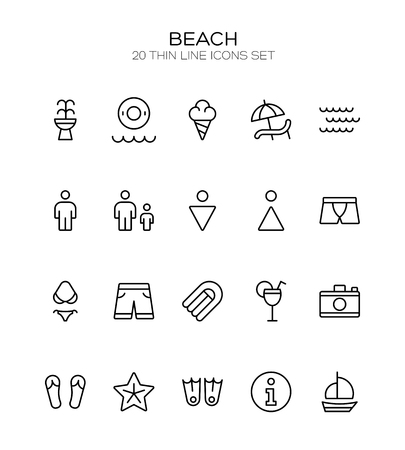 watermelon boat: Summer icon set. Collection of high quality outline holiday pictograms in modern flat style. Black beach symbol for web design and mobile app on white background. Water park line logo. Illustration