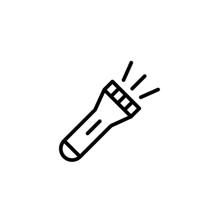 Flashlight flat icon. Single high quality outline symbol of summer for web design or mobile app. Thin line signs of swiming for design logo, visit card, etc. Outline logo of diving  イラスト・ベクター素材