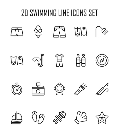Swimming icon set. Collection of high quality outline summer pictograms in modern flat style. Black pool symbol for web design and mobile app.