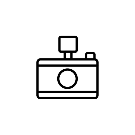 camera film: Camera flat icon. Single high quality outline symbol of summer for web design or mobile app. Thin line signs of photo for design logo, visit card, etc. Outline logo of video camera