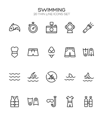Swimming icon set. Collection of high quality outline summer pictograms in modern flat style. Black pool symbol for web design and mobile app on white background. Diving line logo.