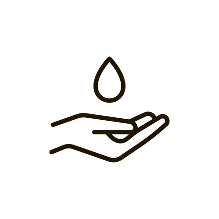 Hand circle flat icon. Single high quality outline symbol of spa for web design or mobile app. Thin line signs of beauty for design logo, visit card, etc. Outline logo of massage Illustration