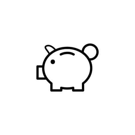pink and black: Pig money flat icon. Single high quality outline symbol of gambling for web design or mobile app. Thin line signs of casino for design logo, visit card, etc. Outline logo of lottery.