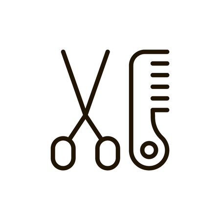 Haircut flat icon. Single high quality outline symbol of spa for web design or mobile app. Thin line signs of beauty for design logo, visit card, etc. Outline logo of massage