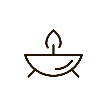 Candle flat icon. Single high quality outline symbol of spa for web design or mobile app. Thin line signs of beauty for design logo, visit card, etc. Outline logo of massage