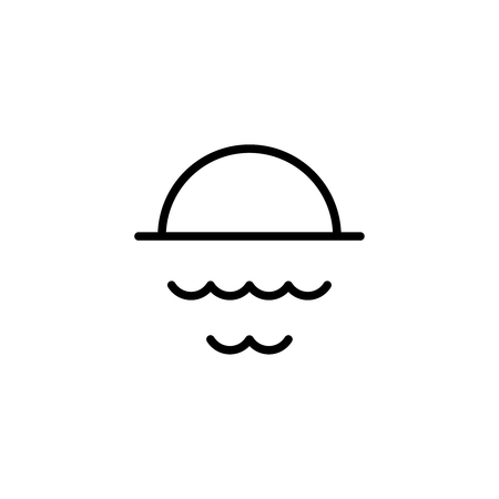 Sun and pond flat icon. Single high quality outline symbol of water for web design or mobile app. Thin line signs of swimming for design logo, visit card, etc. Outline logo of sport