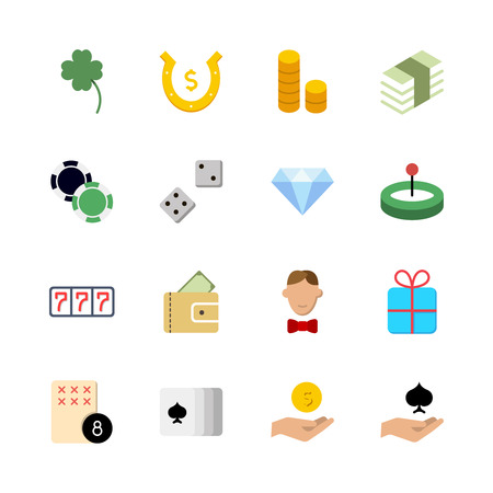 Casino icon set. Collection of high quality outline lottery pictograms in modern flat style. Black gambling symbol for web design and mobile app on white background. Winnnig line icon Vectores