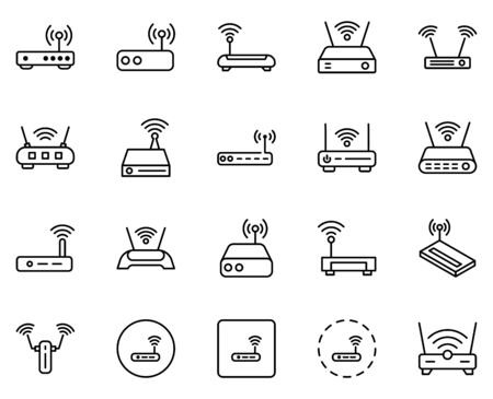 Wifi router line icon set. Collection of vector symbol in trendy flat style on white background. Wifi router sings for design.