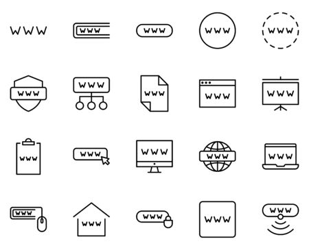 WWW set line icons in flat design with elements for web site design and mobile apps.  Collection modern infographic logo and symbol. WWW vector line pictogram