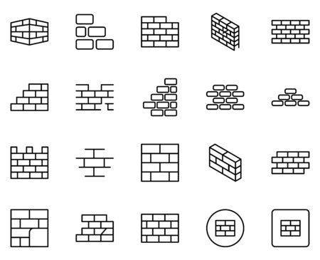 Wall icon set. Collection of high quality outline web pictograms in modern flat style. Black Wall symbol for web design and mobile app on white background. Ilustración de vector