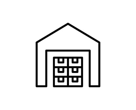 Warehouse line icon. Vector symbol in trendy flat style on white background. Warehouse sing for design. Ilustração