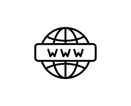 WWW flat icon. Single high quality outline symbol for web design or mobile app.  WWW thin line signs for design logo, visit card, etc.