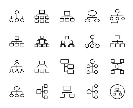 Hierarchy line icon set. Collection of vector symbol in trendy flat style on white background. Web sings for design.