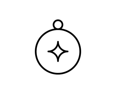 Line Compass icon isolated on white background. Outline symbol for website design, mobile application, ui. Compass pictogram. Vector illustration, editorial stroke. Eps10 Illustration