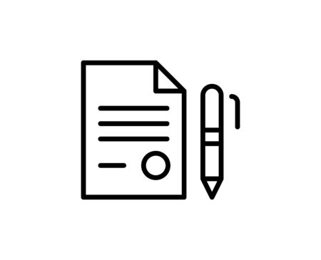 Contract line icon. Vector symbol in trendy flat style on white background. Web sing for design.