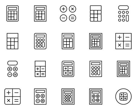 Calculator line icon set.