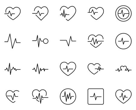 CARDIOGRAM line icon set. Collection of high quality black outline  for mobile concepts and web apps. CARDIOGRAM set in trendy flat style. Vector illustration on a white background