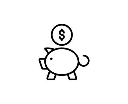 Money pig line icon. Vector symbol in trendy flat style on white background. Web sing for design.