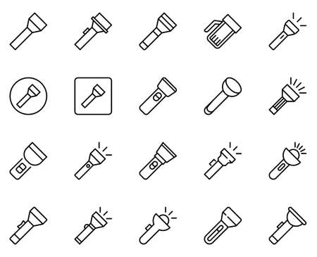 Flashlight line icon set. Collection of vector symbol in trendy flat style on white background. Flashlight sings for design.