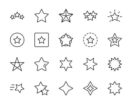 Star line icon set. Collection of vector symbol in trendy flat style on white background. Web sings for design. Illusztráció