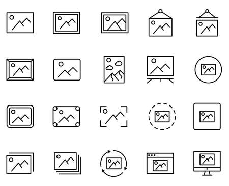 Gallery set line icons in flat design with elements for web site design and mobile apps. Collection modern infographic logo and symbol. Gallery vector line pictogram