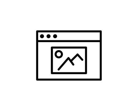 Line Gallery icon isolated on white background. Outline symbol for website design, mobile application, ui. Gallery pictogram. Vector illustration, editorial stroke. Eps10 Stock Illustratie