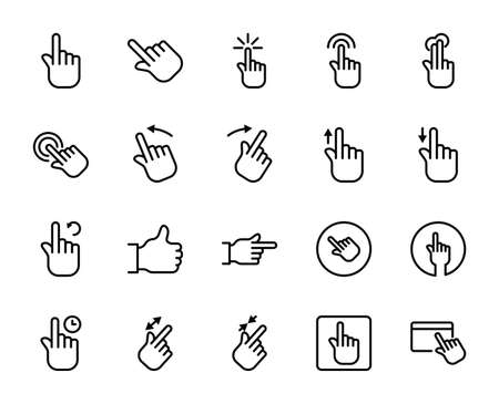 Gesture line icon set. Collection of vector symbol in trendy flat style on white background.Web sings for design.