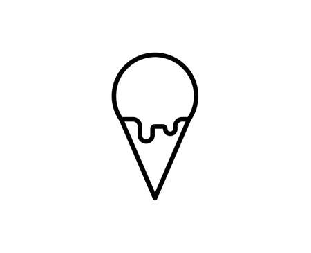 Ice cream flat icon. Single high quality outline symbol for web design or mobile app. Ice cream thin line signs for design logo, visit card, etc. Outline pictogram EPS10