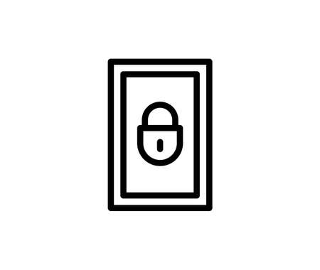 Line locker icon isolated on white background. Outline furniture symbol for website design, mobile application, ui. Locker pictogram. Vector illustration, editable strok. Eps10 Ilustração