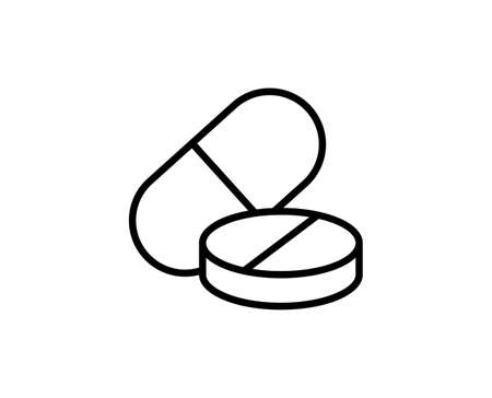 Pills flat icon. Single high quality outline symbol for web design or mobile app. Pills thin line signs for design, visit card, etc.
