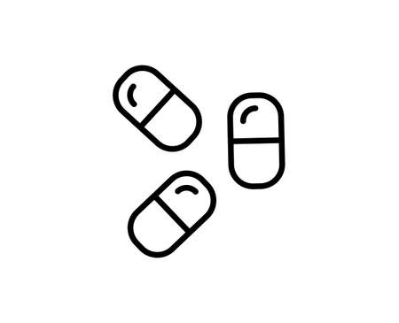 Pills flat icon. Single high quality outline symbol for web design or mobile app.