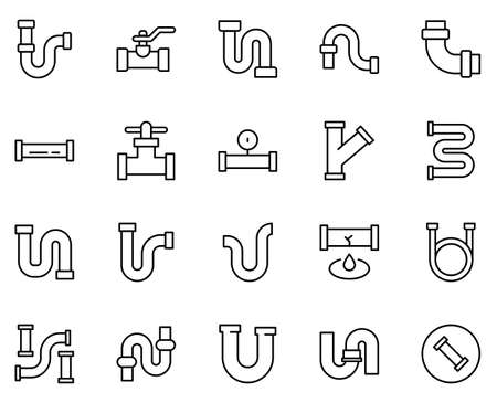 Plumb icon set. Collection of high quality outline web pictograms in modern flat style.