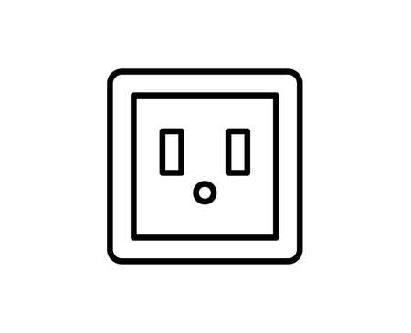 Power socket line icon.
