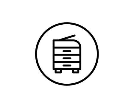 Printer flat icon. Thin line signs for design logo, visit card, etc. Single high-quality outline symbol for web design or mobile app. Printer outline pictogram. 向量圖像